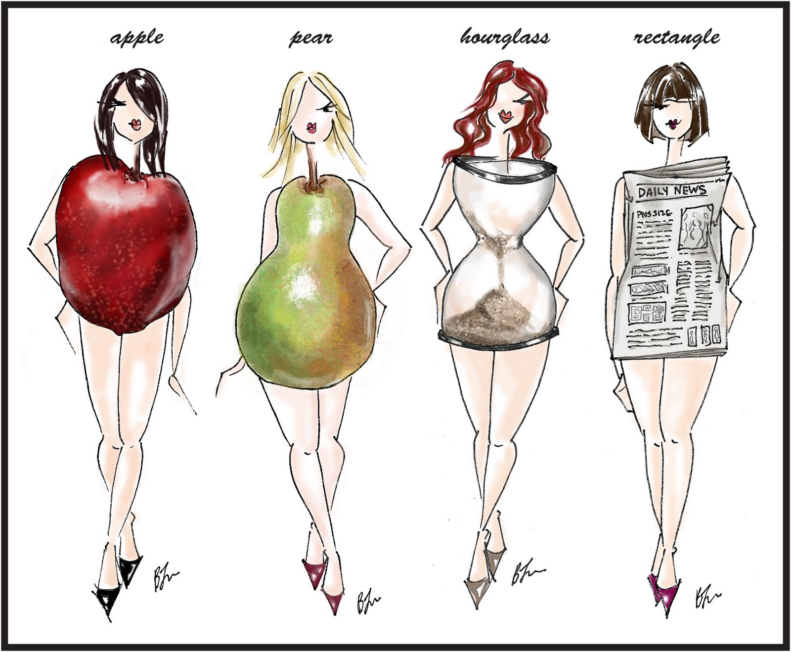 Illustration of four women each of a different body shape, apple, pear, hourglass and rectangle.